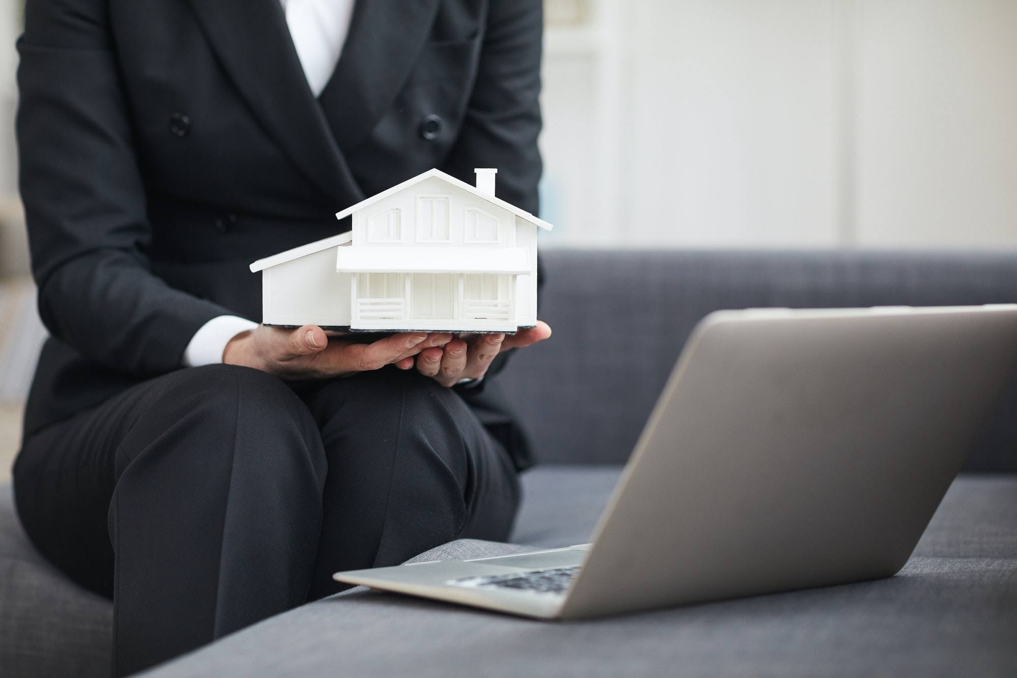 Real estate agent working online